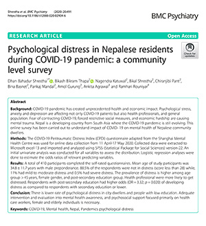Psychological distress in Nepalese residents during COVID-19 pandemic: a community level survey