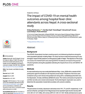 The impact of COVID-19 on mental health outcomes among hospital fever clinic attendants across Nepal: A cross-sectional study