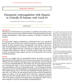 Therapeutic Anticoagulation with Heparin in Critically Ill Patients with Covid-19